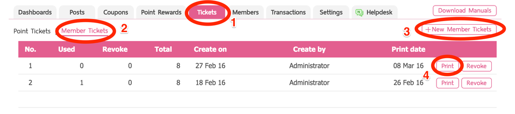 Create Member Tickets